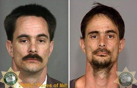 Как меняется человек, становясь зависимым от психостимуляторов: слева - до приема наркотиков, справа - через 2 месяца наркомании