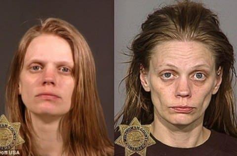 Как меняется человек, становясь наркоманом, зависимым от героина: слева - до приема наркотиков, справа - через год наркомании